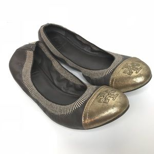 Tory Burch Sz 8.5 Leather Gold Tip Ballet Flat